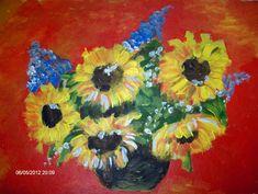 Flowers by Farfallina Art -Gabriela Dinca- Original Artwork, Greeting Cards, Wall Art, Creative, Pictures, Sunflowers, Painting, Heavenly, Gardens