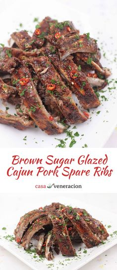 A whole turkey not enough to feed everyone? Serve this brown sugar glazed Cajun pork spare ribs as a second main dish! Easy and delicious! via @casaveneracion