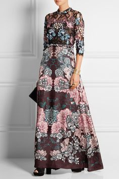 Biyan | Iyeoka embroidered tulle and floral-print satin gown | NET-A-PORTER.COM