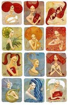 The illustration of twelve horoscope signs presented by women stylised as their zodiac signs Stock Photo 12 Zodiac Signs, Horoscope Signs, Taurus, Pisces, Aquarius, Name Astrology, Numerology Calculation, Sign Image, Zodiac Art