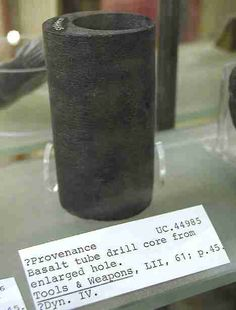 Drill core waste fragment made of basalt double cored to produce a tube, unknown date possibily Dynasty. (height: The Petrie Museum, Photograph by Jon Bodsworth The Egypt Archive) Note: Higher Res. Ancient Aliens, Ancient Art, Ancient History, Lost Technology, Out Of Place Artifacts, Harappan, Archaeological Discoveries, Robot Concept Art, Ancient Mysteries