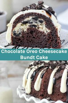 Oreo Chocolate Cheesecake Cake is perfect for Oreo lovers! This chocolately bundt cake is easy to make with boxed cake mix and has the best Oreo cheesecake filling. # oreo Desserts This Easy Chocolate Bundt Cake Recipe Is Perfect For Oreo Lovers! Cake Mix Recipes, Cheesecake Recipes, Dessert Recipes, Cupcake Recipes, Chocolate Oreo Cake, Chocolate Cheesecake, Oreo Cheesecake Cake, Chocolate Lovers, Oreo Dessert