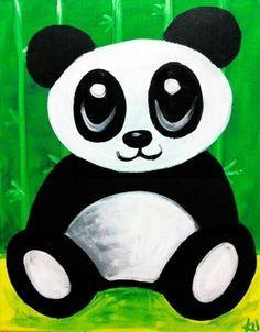 Cute panda canvas paint idea for wall decor.  Panda bear. Canvas painting. Wall art.