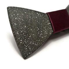 FATHER'S DAY SALE! Concrete bow tie. Stone bowtie with Purple satin.Gift for boyfriend! Men jewelry. Black bowtie. Bow tie for him.