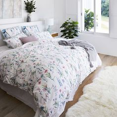 Wild Flower Quilt Cover Set White