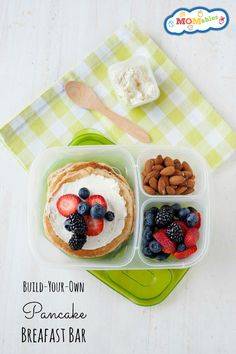 Take the classic pancakes for a spin with this Fresh Fruit and Pancake Breakfast Bar! Interactive, fun, and it also makes a great lunch! Lunch Box Bento, Easy Lunch Boxes, Lunch Snacks, Lunch Ideas, Box Lunches, School Lunches, Lunch Recipes, Breakfast Cookie Recipe, Breakfast Pancakes