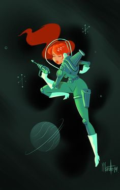 Maroto Bambinomonkey : Pin Up and Cartoon Girls Character Concept, Character Art, Concept Art, Space Girl, Red Space, Space Age, Hip Hop Art, Science Fiction Art, Nose Art