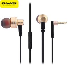 Awei ES-10TY Universal Earphone Hifi Metal Heavy Bass Wired Earphone With  Microphones For iPhone For Huawei Smartphone