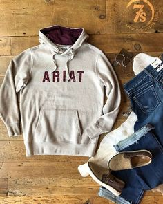 The Lenexa – Oatmeal Ariat logo hoodie. Rustic burgundy graphic and hood lining. Wide ribbed hem and cuff. So soft and comfy. Source by SavannahSevens clothes ideas