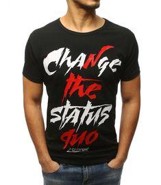 1428f3896db1 Čierne pánske tričko s potlačou