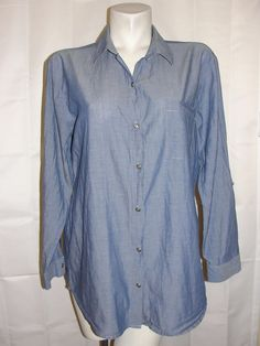 Chico's Top Womens Sz 2 Large Blue Light Weight Cotton Button Down Jean Shirt LS #Chicos #Blouse #CasualCareer