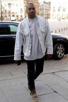 Kanye West wearing Acne Ace Cash Jeans, Levi's Vintage Trucker Jacket, Yeezy 750 Boost