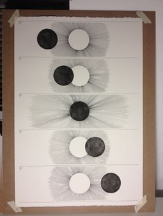 "Astronomy diagram  Eclipse; 14""x22"" black ink on cream."