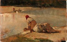 Ángel Lizcano Monedero - 1879 - La lavandera - Óleo sobre tabla - 14 x 22 cm - Museo Nacional del Prado