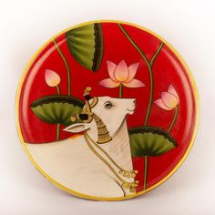 Hand Painted Walls, Hand Painted Plates, Plates On Wall, Dog Canvas Painting, Fabric Painting, Circle Painting, Pichwai Paintings, Indian Art Paintings, Princess Painting