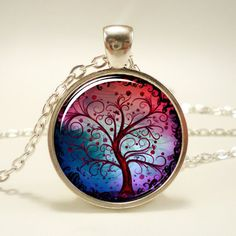 Tree Of Life Necklace, Silver Plate (0370S1IN) (100 DKK) ❤ liked on Polyvore featuring jewelry, necklaces, accessories, colorful necklaces, pendant necklace, tri color jewelry, silver plated necklace and silver plated jewelry