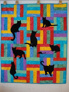 cat quilt! click through 2C more whimsical hand-crafted cat quilts