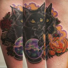 black cat tattoo neo traditional - Поиск в Google