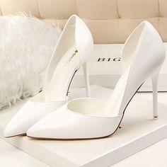 Wedding Shoes Women Pointed Toe Summer Pumps PU High Heels Stilettos Wedding Dress Source by Pointed Heels, High Heels Stilettos, Shoes Heels, Pumps, Heel Boots, Dress Shoes, Bride Shoes, Wedding Shoes, Wedding High Heels