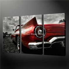3 piece wall art painting pictures print on canvas black white and red red cadillac vintage