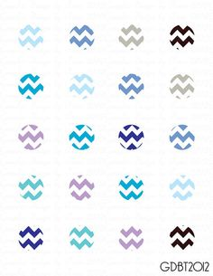 Chevron Cool Colors Digital Image Sheet for by graphicdesignbytara