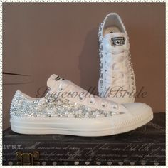 Wedding Converse with crystal & pearl sides, added Swarovski. All sizes available Wedding Sneakers, Wedding Converse, All White Converse, Converse All Star, Mr Mrs Sign, Acrylic Gems, White Ribbon, Pearl White, Swarovski Crystals