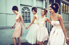 Tips For Planning An Authentic Vintage 1960s Wedding. The dresses are pretty- love the hair