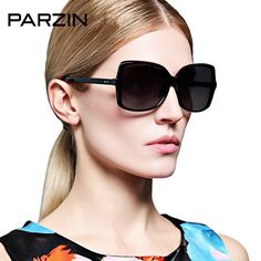 79.99$  Buy now - http://ali25n.worldwells.pw/go.php?t=32600891503 - Parzin Fashion Sunglasses Women Vintage Rivet Oversized Polarized Female Sun Glasses Oculos De Sol Gafas Black With Case 9272 79.99$