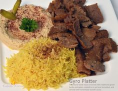 GYRO PLATTER                                . Traditional Lamb meat enriched with traditional greek herbs and spices cooked on a spit and shredded, and served with homemade tzatziki sauce