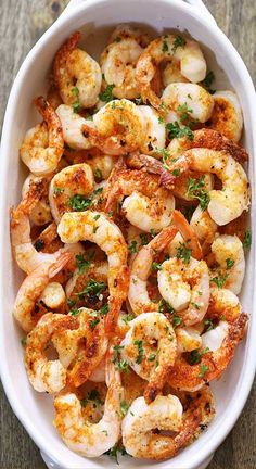 A quick, tasty recipe for baked shrimp with butter, garlic and Parmesan. Baked shrimp are the ultimate healthy fast food - they are ready in ten minutes! Grilled Shrimp Recipes, Shrimp Recipes For Dinner, Baked Shrimp, Shrimp Recipes Easy, Seafood Recipes, Parmesan Shrimp, Garlic Parmesan, Seafood Dishes, Prawn Dishes