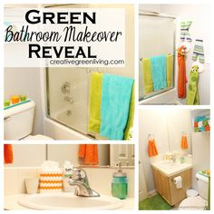 Kid and guest combo bathroom makeover with bright colors like orange, teal and green. Light grey walls from the Bisque line from Colorhouse. What a fun, bright space.