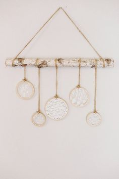 This lace and birch wall hanging is even more beautiful in person. Made with a sturdy 2 foot birch branch, twine and vintage inspired lace. This