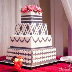 Modern Gray and White Wedding Cake