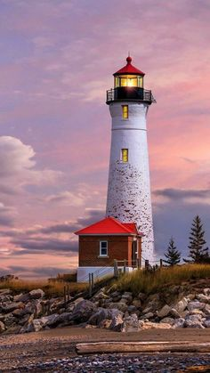 Leuchtturm in Michigan - lighthouse - Lighthouse Lighting, Lighthouse Painting, Lighthouse Pictures, Beacon Of Light, Beacon Of Hope, Pictures To Paint, Windmill, Belle Photo, Beautiful Landscapes