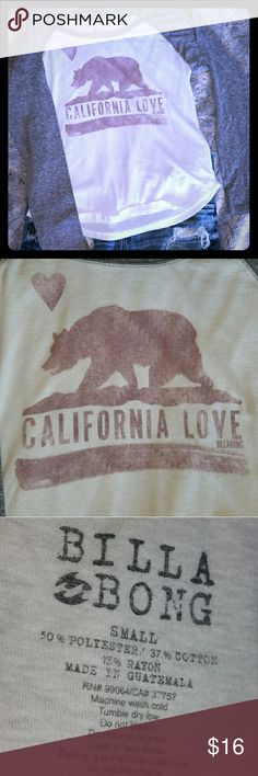 """BILLABONG Cali Baseball Tee EUC Billabong California Baseball style tee. NO DAMAGE & SUPER SOFT! White w/ Gray Sleeve's.. Red """"California Love"""" and Bear are meant to look worn. Rounded hem at the bottom. *(It is WHITE and not dingy... the pics came out dark) Billabong Tops Tees - Long Sleeve"""