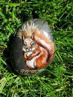 Red Squirrel - Original hand painted rock, cobble, stone, pebble