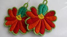 "Hand Embroided Hungarian ""Matyó"" Folk Rose Eearrrings orange-red"