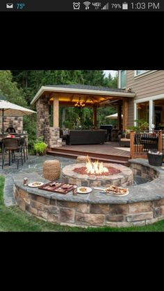 The Wheeler Property Fire Pit Designs is a must see landscape design with Attached gazebo outdoor living room and kitchen, firepit with seatwalls