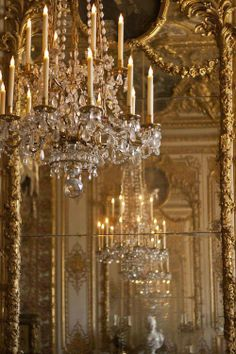Chandelier at Versailles by Georgia Fowler Chandelier Bougie, Chandelier Lighting, Crystal Chandeliers, Luxury Chandelier, Empire Chandelier, Antique Chandelier, Chateau Versailles, Palace Of Versailles, Gold Aesthetic
