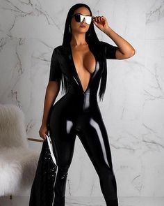 Sexy Outfits, Sexy Dresses, Fashion Outfits, Mode Latex, Looks Pinterest, Jolie Lingerie, Long Jumpsuits, Gorgeous Women, Covet Fashion