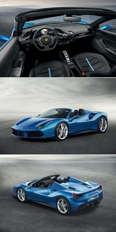 Ferrari 488 Spider - The open-top exotic will have the same perfected 661-hp, twin-turbocharged, mid-mounted V8 engine as the coupe version but with a retractable roof. The price tag will likely hit $275,000, roughly $30,000 more than the 488 GTB's base price #supercar...x