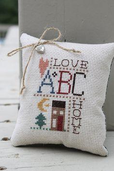 Cross Stitch Sampler Pinkeep  Love & Home by Stitchcrafts on Etsy