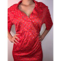 Vintage red colored dotted spring/summer dress Sleek, midi/long, red vintage dress perfect for day and dinner attire. Got in Paris at high end boutique Vintage Dresses Midi