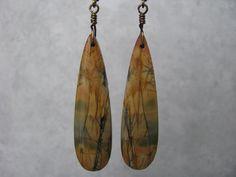 Long, Teardrop, Tan and Grey, Red Creek Jasper Stone Slab, Antique Brass Wire Wrapped Earrings, Leverback Ear Wire by EarthlyTreasures2015 on Etsy