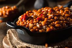 LOVE me some baked beans!! I wonder if you could use dry beans? Cans would be fine too. | Vegan Slow Cooker Maple Baked Bean Recipe