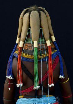 Africa   Mumuhuila tribe woman hairstyle - Angola  byEric Lafforgue