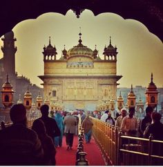 Entering the Golden Temple in Amritsar.