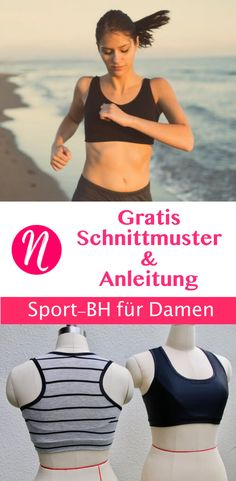 Kostenloses Schnittmuster für einen Sport-BH ❤ mit ausführlicher Anleitung ❤ Freebook ❤ Gr. M - 3 XL ✂ Nähtalente.de - Magazin für kostenlose Schnittmuster ✂ Free PDF sewing pattern for a woman sports-bra in size M - XL.