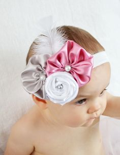 Baby Headbands... Baby Girl Headband... Pink Silver White Flower Headband... Baby Bow Headband... Newborn Headband. $8.50, via Etsy.