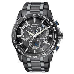 Mens Citizen Perpetual Chronograph AT Black Dial Watch #citizen #watch
